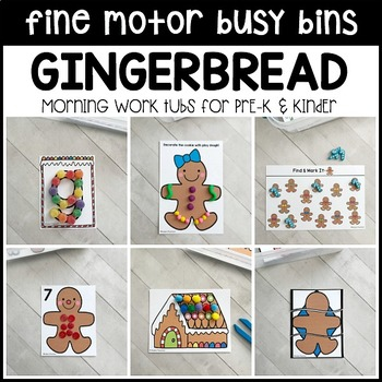 GINGERBREAD Fine Motor Busy Bins (Christmas morning tubs) - Preschool, Pre-K