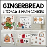 GINGERBREAD Literacy & Math Centers for Christmas (Preschool, PreK, Kinder)