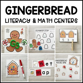 GINGERBREAD Literacy & Math Centers for Christmas (Preschool, PreK, Kinder)