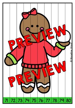GINGERBREAD MAN ACTIVITY KINDERGARTEN (WINTER COUNTING TO 100 PUZZLES)