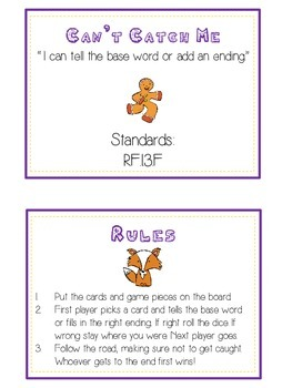 GINGERBREAD MAN Inflectional Word Endings - ELA First Grade Game - Word Work