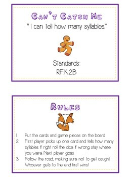 GINGERBREAD MAN Syllables - ELA First Grade Folder Game - Word Work Center