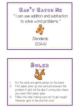 GINGERBREAD MAN - Word Problems Adding & Subtracting - Math Folder Game