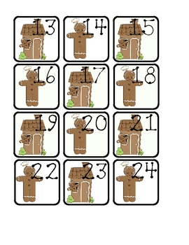 GINGERBREAD THEMED CALENDAR SQUARES / MATH CENTERS