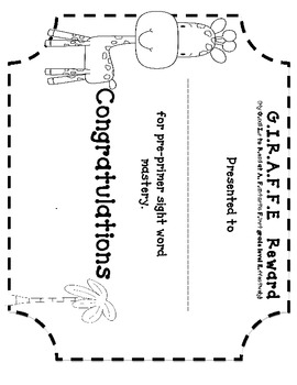 G.I.R.A.F.F.E Sight word testing chart for data binders