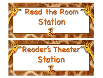 GIRAFFE Themed Station/Center Signs - Great Classroom Management!  ADORABLE!