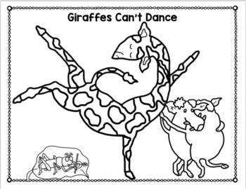 GIRAFFES CAN\'T DANCE FREE COLORING PAGES by Book Units by Lynn | TpT