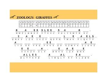 GIRAFFES- CRYPTOGRAM GRADES 4-7