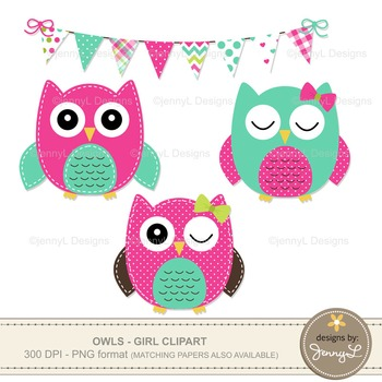 GIRL Owl Clipart, Turquoise and Hot Pink Stitched Owl, Tree Branch, Bunting