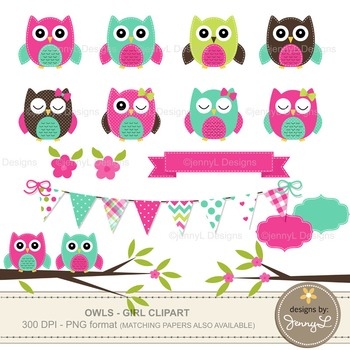 GIRL Owl Clipart, Turquoise and Hot Pink Stitched Owl, Tre