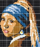GIRL WITH A TURBAN, Girl with a Pearl Earring 42 GRIDS, MA