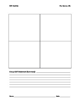 IR GIST Activity worksheet