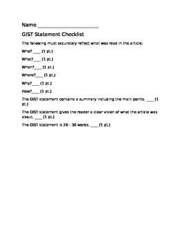 GIST Statement Checklist by Abby F | Teachers Pay Teachers