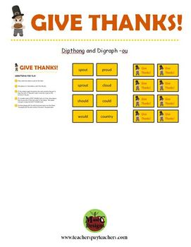 GIVE THANKS! Thanksgiving Phonics Game Activity Dipthong and Digraph -ou