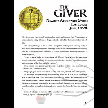 THE GIVER Newbery Award Speech & Response