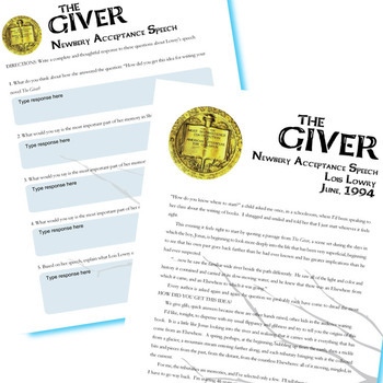 THE GIVER Newbery Award Speech & Response (Created for Digital)