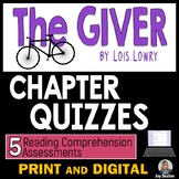 GIVER Quizzes - 5 Reading Comprehension Check Quizzes M/C & Matching