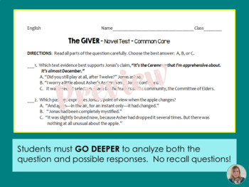 The GIVER Test - Whole Novel Test with Common Core Stems