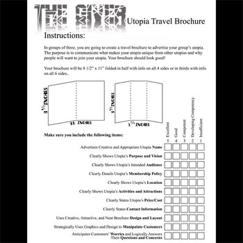 THE GIVER Utopia Project & Travel Brochure Activity