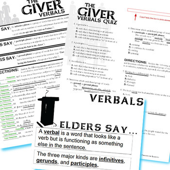 THE GIVER Verbals (Infinitives, Participles, Gerunds) (Created for Digital)