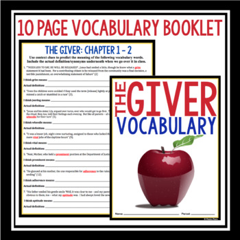 GIVER VOCABULARY