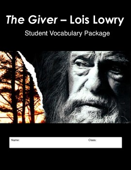 GIVER - Vocabulary List, Student Package, Vocabulary Test
