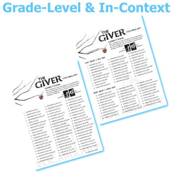 the giver vocabulary list and quiz assessment by created for learning. Black Bedroom Furniture Sets. Home Design Ideas