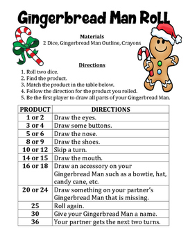 Gingerbread Man Product Roll - A Christmas Math Activity to Multiply Numbers