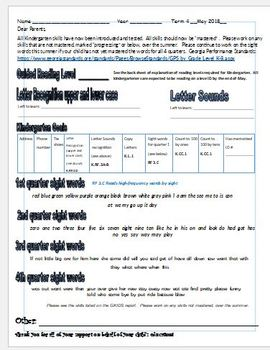 GKIDS report card parent companion piece for quarter 4