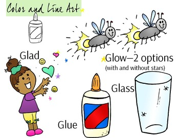 GL Blend Phonics Clip Art Set - Color and Line Art 10 pc set