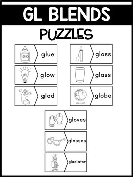 GL Blends Phonics Center:  Picture and Word Match Puzzles