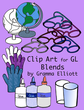GL Blends Phonics Realistic Clip Art Color and Black Line 300 dpi PNGs