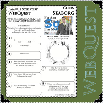 GLENN SEABORG - WebQuest in Science - Famous Scientist - Differentiated