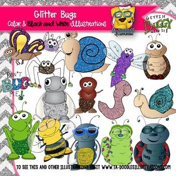 GLITTER Bugs in Spring clip art