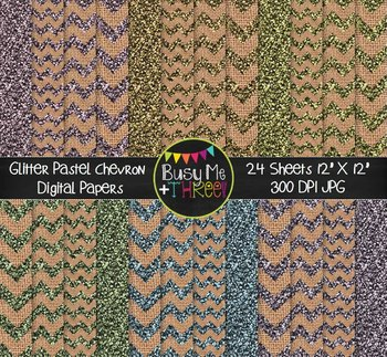 GLITTER Pastel Chevron Burlap Digital Papers {Commercial Use Digital Graphics}