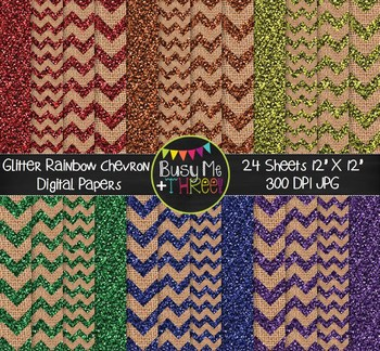 GLITTER Rainbow Chevron Burlap Digital Papers {Commercial Use Digital Graphics}