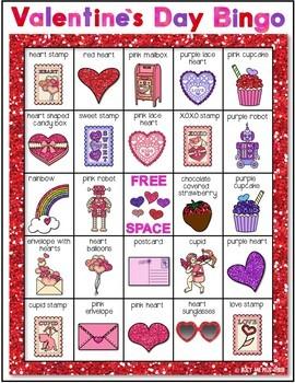 Valentine's Day Bingo, Glittery {24 Different Bingo Cards}