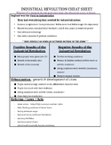 GLOBAL CHEAT SHEET - INDUSTRIAL REVOLUTION (DOC) - QUIZ & REGENTS REVIEW