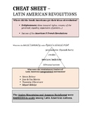 GLOBAL CHEAT SHEET - LATIN AMERICAN REVOLUTIONS (DOC) - QUIZ & REGENTS REVIEW