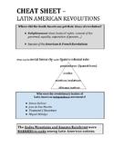 GLOBAL CHEAT SHEET - LATIN AMERICAN REVOLUTIONS (PDF) - QUIZ & REGENTS REVIEW