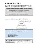 GLOBAL CHEAT SHEET - LATIN AMERICAN REVOLUTIONS (PDF) - QUIZ & REGENTS REVIEW