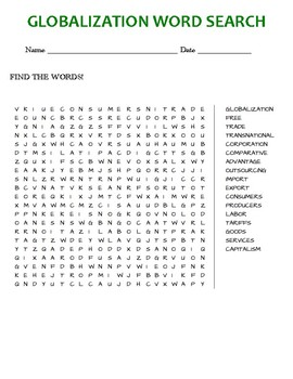 GLOBALIZATION WORD SEARCH