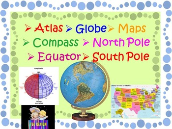 Maps and Globes - skills vocabulary cards - Geography