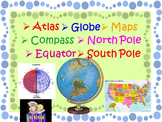 Maps and Globes skills vocabulary cards Geography distance