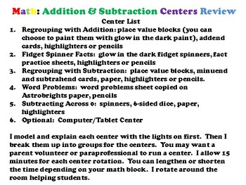 GLOW! Math: An Addition and Subtraction Review