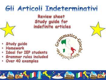 GLi Articoli indeterminativi: Study guide, notes, practice!
