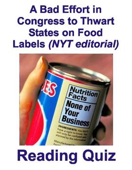 GMO Food Labels - Reading Quiz (NYT editorial, 2/25/16)
