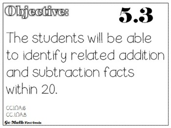 Go Math Objectives:  First Grade Chapters 1 - 6