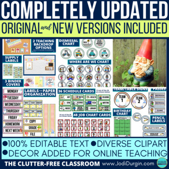 GNOME THEME Classroom Decor - EDITABLE Clutter-Free Classroom Decor BUNDLE