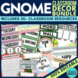 GNOMES THEME Classroom Decor - EDITABLE Clutter-Free Class